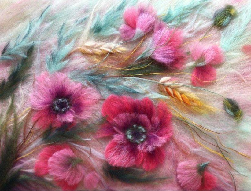 Цветы из валяной шерсти