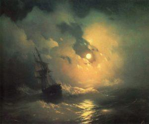 """Буря на море ночью""."