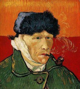 """""""Автопортрет с перевязанным ухом и трубкой""""."""