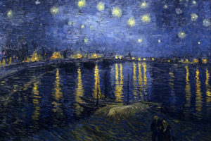 """В. Ван Гог """"Звездная ночь над Роной""""."""